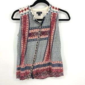Lucky Brand Embroidered Button Up Boho Tank